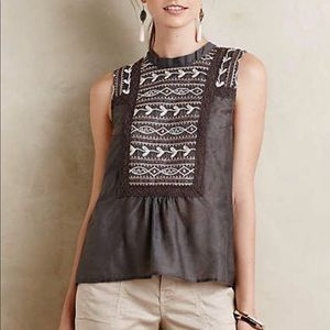 Anthropologie Tiny Isabel Embroidered Tank Keyhole